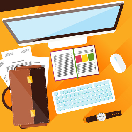 Concept with top view of office desk with keyboard, briefcase, stationery and personal accessories of businessman. Flat design modern concept of creative office workplace
