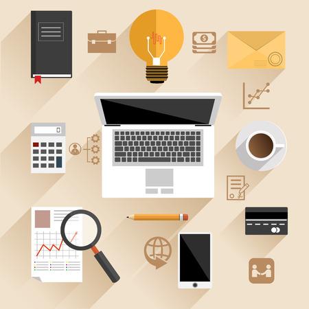 Flache Design-Konzept f�r die Draufsicht auf Gesch�ftsmann oder Manager am Arbeitsplatz mit Laptop, Smartphone und Idee Zeichen auf Beige Hintergrund mit Business-Piktogramme