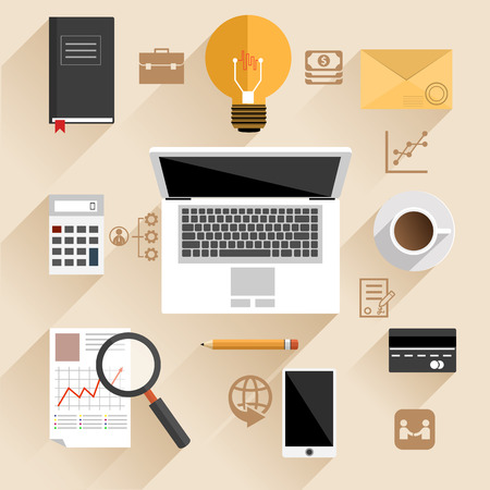 Flat design concept for top view of businessman or manager workplace with laptop, smartphone and idea sign on beige background with business pictograms