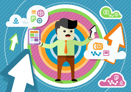 Flat design concept for cloud storage with mustached businessman sharing information with digital tablet in hand on abstract colorful background Illustration