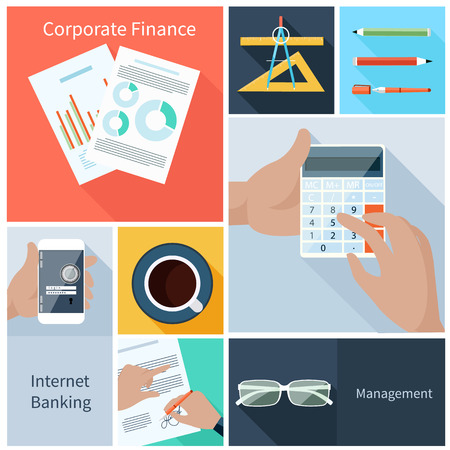 smartphone business: Business concept in flat style for corporate finance, internet banking, management with businessman hands holding blocked smartphone, calculator and signing contract