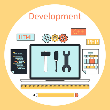 programing: Flat design concept for web development with laptop, tools, programing code in circle frame on yellow background Illustration