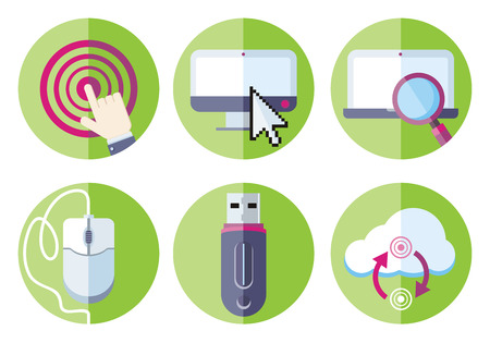 Set flat design icons information resource devices with desktop computer, laptop, link, mouse, usb flash drive, cloud storage in circle green frames on white background Vector