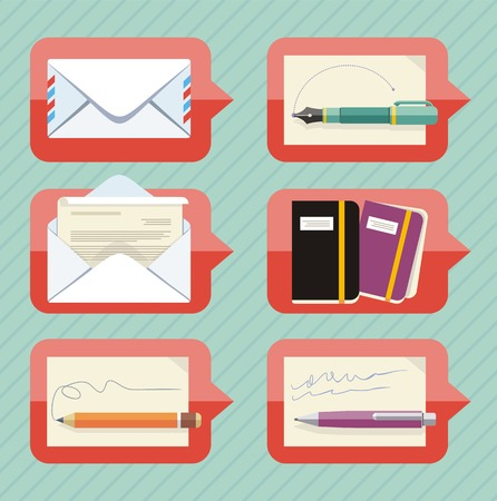 chat bubble: Chat bubble icon set for office objects and supplies with envelope, digital pen, organizer, pen and pencil