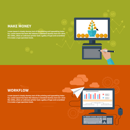 growing money: Business concepts for make money with growing money tree on computer monitor and for workflow with finance analysis, bar graph,desktop pc Illustration