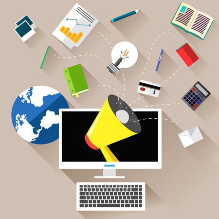 ps: Business concept for marketing work tools with computer, megaphone and various of business and office icons
