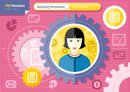 finance department: Profession series concept for banking personnel with smiling female accountant in formal wear and necklace in circle frame on pink with financial icons background