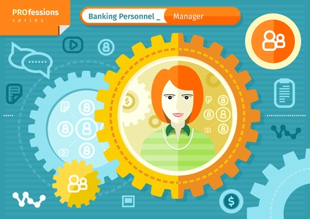 formal blue: Profession series concept for banking personnel with beautiful woman manager in formal wear in circle frame on blue with communication pictograms background