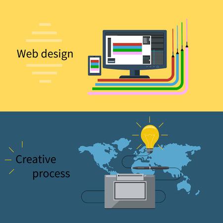 concepteur web: Concept pour la conception web et le processus cr�atif avec l'ordinateur de bureau, stylo num�rique et des outils et instruments de web designer