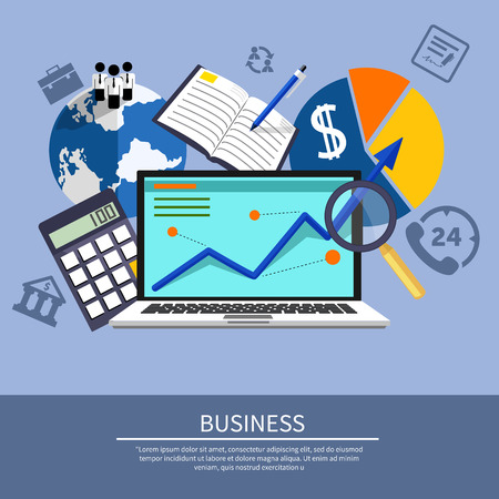 graphical chart: Growth chart with magnifying glass focusing on point. Infographic steps banners. Representing success and financial growth. Graphical analysis in flat design style