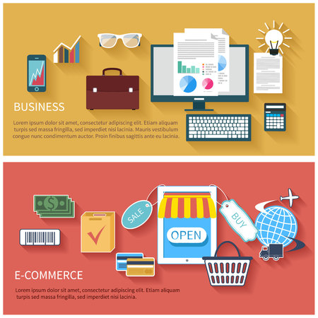 Icon set in flat design of business concepts start up, e-commerce, mobile payment