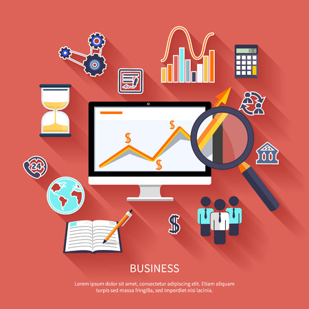 focusing: Growth chart with magnifying glass focusing on point. Infographic steps banners. Representing success and financial growth. Graphical analysis in flat design style