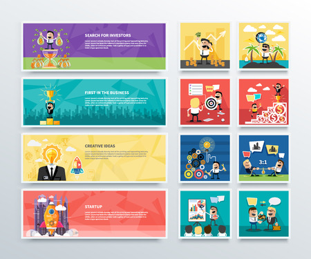 numero uno: Conjunto de banderas de negocio de búsqueda de inversores, primero en los negocios, ideas creativas y puesta en marcha en diseño plano. Hombre de negocios feliz Vectores