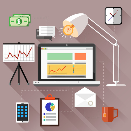 work from home: SEO optimization, programming process and web analytics elements. Concept for work from home. Workplace with computer, lamp, desk, illustration in flat design