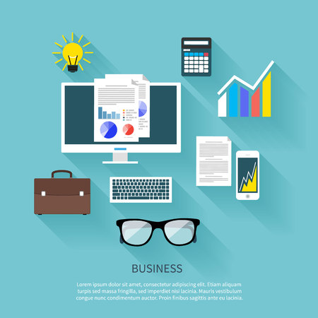 glasess: Concept in flat design for workplace organization of financier and manager with desktop pc, briefcase, stationery, and idea bulb on blue background