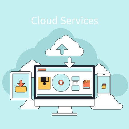 Cloud services concept. Set of flat design concept icons for mobile phone services and apps. Icons for web design, services and communication Vector