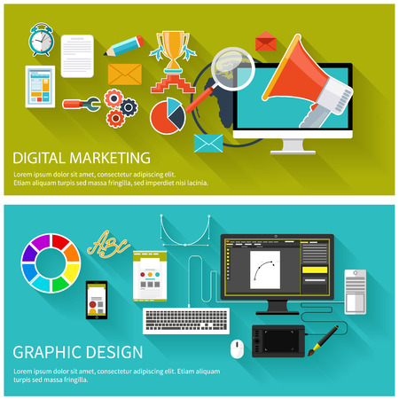Digital marketing concept. Megaphone surrounded by media icons. Flat design megaphone with application icons. Design tools and software for responsive web design on desktop monitor, tablet and smartphone Illustration