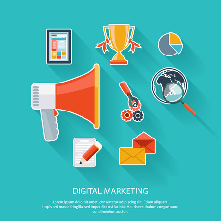 online advertising: Digital marketing concept. Megaphone surrounded by media icons. Flat design stylish megaphone with application icons