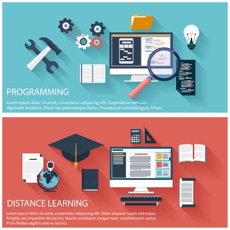 コーディングのラップトップ プログラムの平らな設計コンセプト。オンライン教育、遠隔教育、創造的思考、コンピューターと技術革新のための概  イラスト・ベクター素材