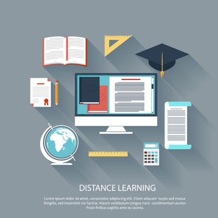 Concept in flat design for online education, distance learning, science research, creative thinking, innovations with computer