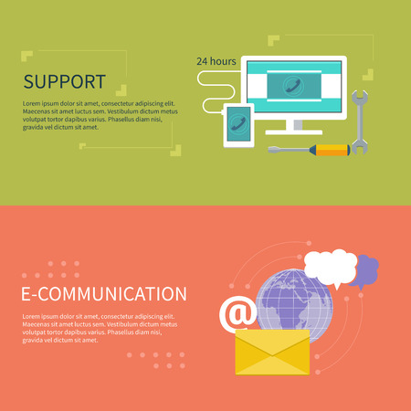 call center people in isolated: Set for web and mobile applications of office work. Operator with different item icons such as network, 24h, info, message. Support concept and e-communication in flat design Illustration