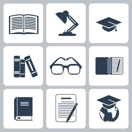 glasess: Black education icons set on white background