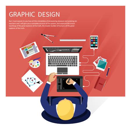 컴퓨터와 평면 디자인 그래픽 디자인, 디자이너 툴 및 소프트웨어에 대한 개념 디자이너 장비 및 악기를 둘러싸인. 디자이너의 상위 뷰는 책상에 태블 일러스트