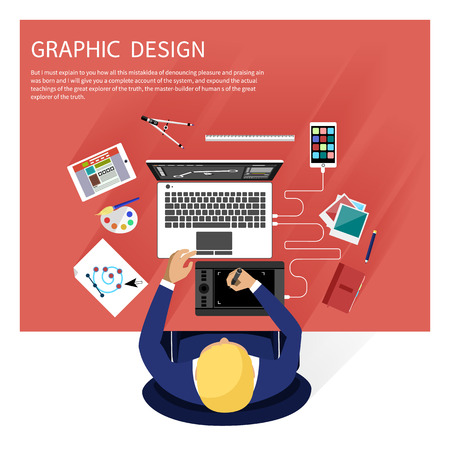 Concept for graphic design, designer tools and software in flat design with computer surrounded designer equipment and instruments. Top view of designer draws on tablet at desk Stock Illustratie