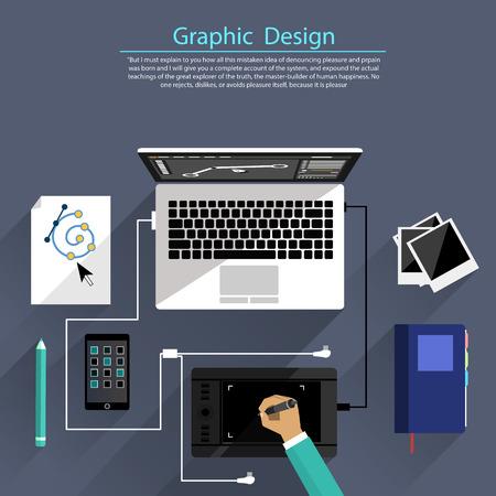 상단: 컴퓨터와 평면 디자인 그래픽 디자인, 디자이너 툴 및 소프트웨어에 대한 개념 디자이너 장비 및 악기를 둘러싸인. 디자이너의 상위 뷰는 책상에 태블릿에 그립니다 일러스트