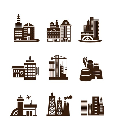 bank building: Various types of construction. City building icons set such as airport, TV tower, plant, factory, Bank, stall, theater for architectural, industrial and travel in black color on white background