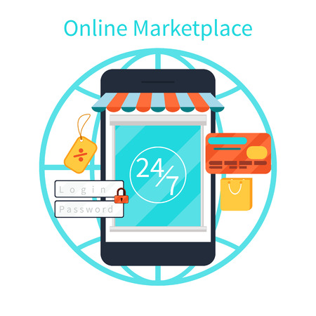 Internet shopping concept smartphone with awning of buying products via online shop store e-commerce ideas e-commerce symbols sale elements on stylish background Vector