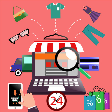 Internet shopping concept laptop with awning of buying products via online shop store e-commerce ideas e-commerce symbols sale elements on stylish background Vector