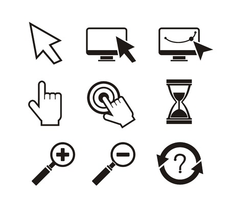 computer mouse icon: Set of different mouse cursors hand cursor hourglass. Black icons on white background