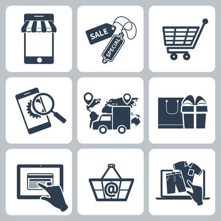 Collectie van winkelen iconen zoals tag, sticker, mand, tas, trolley, ondersteuning, levering in zwarte kleur op een witte achtergrond