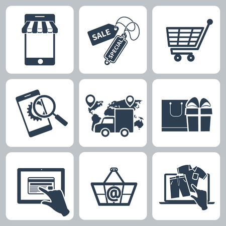 Collection of shopping icons such as tag, sticker, basket, bag, trolley, support, delivery in black color isolated on white background
