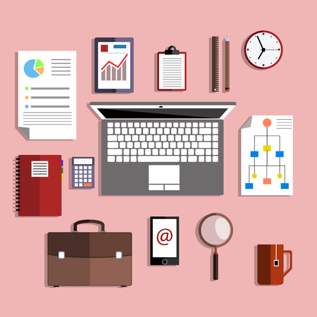 studing: Flat design style modern illustration icons set of office various objects and equipment for work and analysis on rose background Illustration