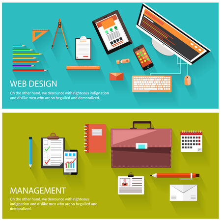 computer devices: Flat design of project management and creative process. Web design and management concept. Computer monitor with the screen of the program for design and architecture
