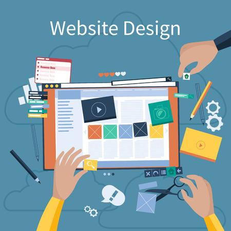 Website design concept. Handen die ontwerp website met verschillende blokken. Tablet pc-interface. Big Touchpadknoppen in flat design stijl