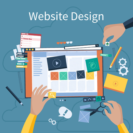 Website design concept. Hands that design web site with different blocks. Tablet pc interface. Big Touch pad buttons in flat design style Ilustração