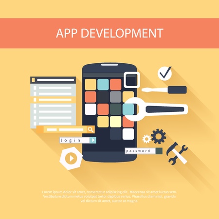 programing: Flat design concept for app development with smartphone, tools, programing code on yellow background
