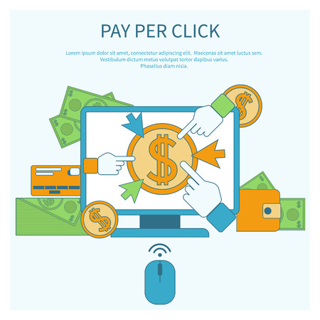 Pay per click internet advertising model when the ad is clicked. Monitor with button buy modern flat design cartoon style Illusztráció