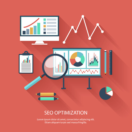 seo concept: SEO optimization, programming process and web analytics elements in flat design