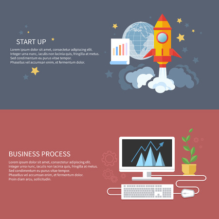 Business start up and business process idea template banners. Start up rocket idea. New business project start up, launching new product or service in flat design Vector