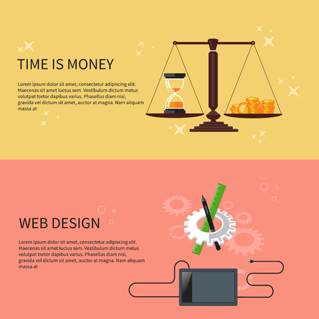 sand dollar: Time is money and web design concept. Designer tools and software in flat design with computer surrounded designer equipment and instruments