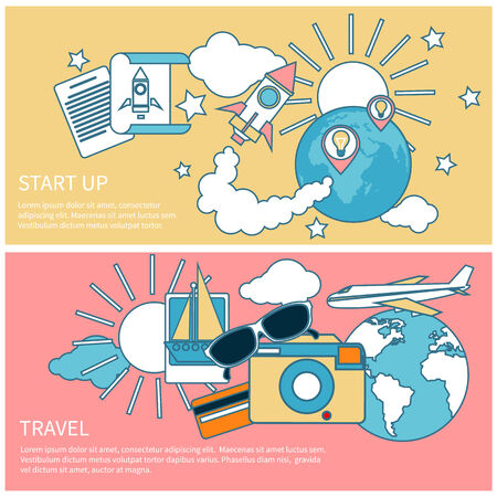 Start up rocket idea. New business project start up, launching new product or service in flat design. International business travel by airplane. Tourist icons around the planet