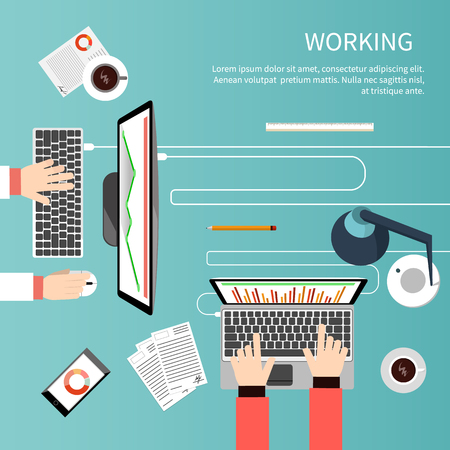 Concept of working process and workplace organization for business team. Top view of desk with businessman hands, laptops, computer, documents and different office objects in flat design Vector