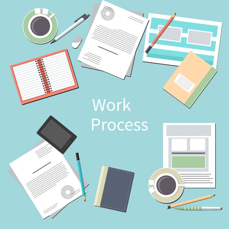 Work process concept with top view of office desk with smartphone, paper documents and personal accessories of businessman in flat design Vector