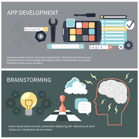 programing: Flat design concept for app development and brainstorming with tools, programing code, human think Illustration