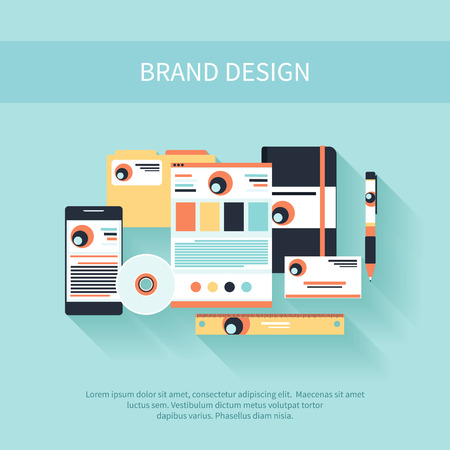 web site design template: Brand Design. Corporate identity template. Company style Illustration