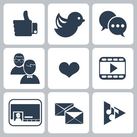 followers: Set di icone di social network con collegamenti messaggio uccello seo ricerca nuvola bolla come link mano seguace persone chiacchierata della rete simbolo del cuore e il contatto in colore nero isolato su bianco